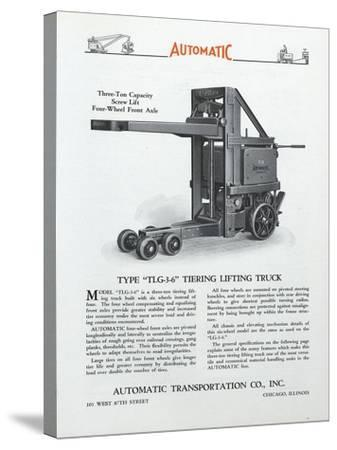 Automatic Transportation Company's Type Tlg 3-6 Tiering Lifting Truck--Stretched Canvas Print