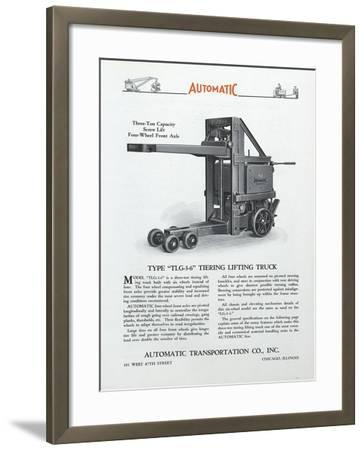 Automatic Transportation Company's Type Tlg 3-6 Tiering Lifting Truck--Framed Giclee Print