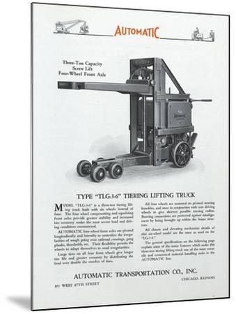 Automatic Transportation Company's Type Tlg 3-6 Tiering Lifting Truck--Mounted Giclee Print