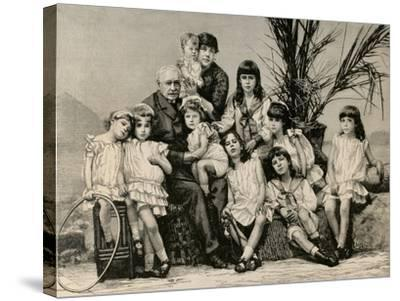 Ferdinand De Lesseps (1805-1894) with His Family, 1886--Stretched Canvas Print