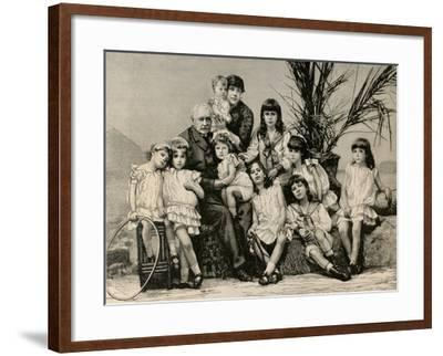 Ferdinand De Lesseps (1805-1894) with His Family, 1886--Framed Giclee Print