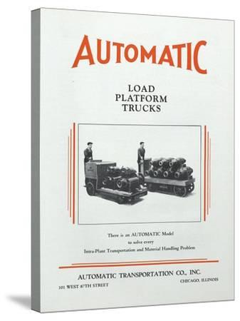 Automatic Transportation Company's Load Platform Trucks--Stretched Canvas Print