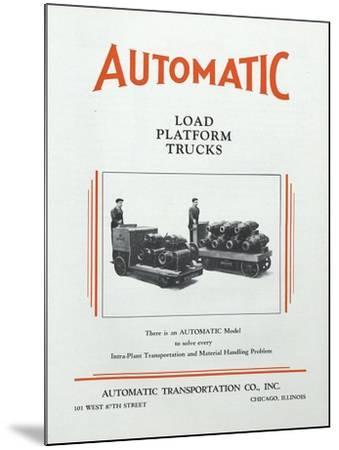 Automatic Transportation Company's Load Platform Trucks--Mounted Giclee Print