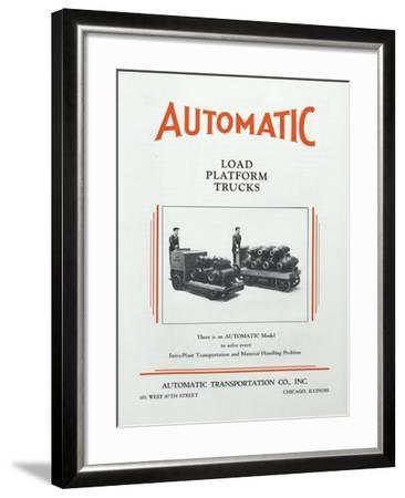 Automatic Transportation Company's Load Platform Trucks--Framed Giclee Print