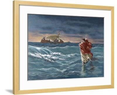 Jesus Walks on the Water of the Sea of Galilee--Framed Giclee Print
