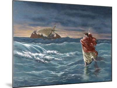 Jesus Walks on the Water of the Sea of Galilee--Mounted Giclee Print