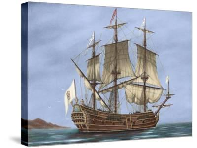 Galleon Saint Lucia. 17th Century. Coloured. Italy--Stretched Canvas Print
