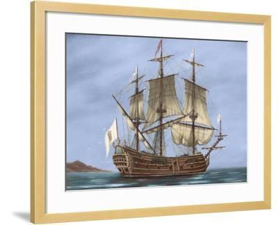 Galleon Saint Lucia. 17th Century. Coloured. Italy--Framed Giclee Print