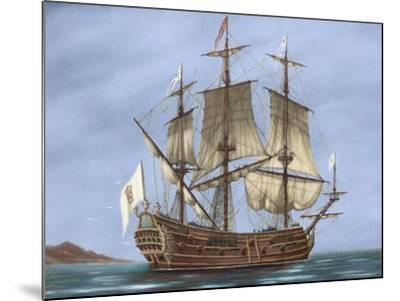 Galleon Saint Lucia. 17th Century. Coloured. Italy--Mounted Giclee Print