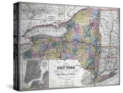 Map of the State of New York, 1850--Stretched Canvas Print