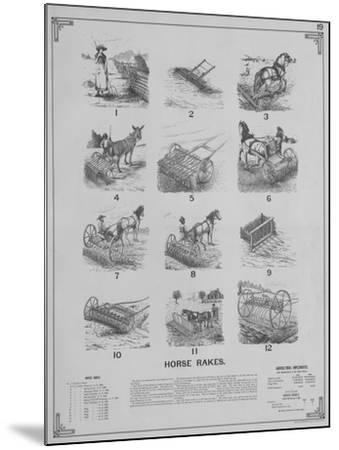 Agricultural Implements - Horse Rakes--Mounted Giclee Print