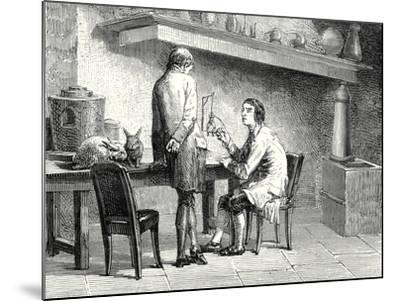 Humboldt and Hallé Repeating the Experiments of Galvani and Volta--Mounted Giclee Print