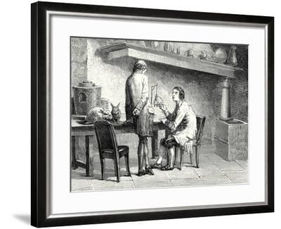 Humboldt and Hallé Repeating the Experiments of Galvani and Volta--Framed Giclee Print