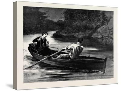 Kit, a Memory; She Took the Rudder-Lines, While Frank Seized the Oars--Stretched Canvas Print