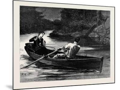 Kit, a Memory; She Took the Rudder-Lines, While Frank Seized the Oars--Mounted Giclee Print
