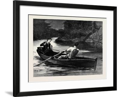 Kit, a Memory; She Took the Rudder-Lines, While Frank Seized the Oars--Framed Giclee Print