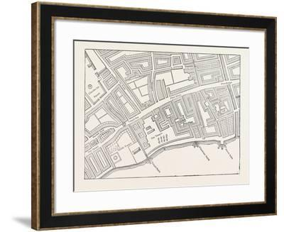 Fleet Street the Temple London from a Map of London Published 1720--Framed Giclee Print