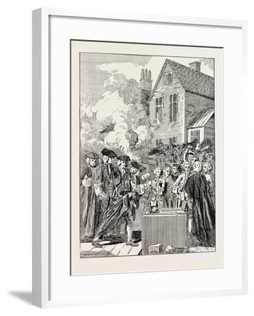 Laying the Foundation-Stone of Blackfriars Bridge 1760 London--Framed Giclee Print