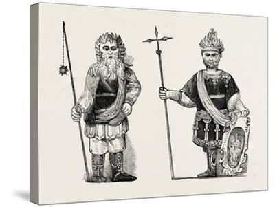 Figures of Gog and Magog Set Up in Guildhall after the Fire London--Stretched Canvas Print