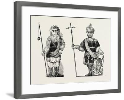 Figures of Gog and Magog Set Up in Guildhall after the Fire London--Framed Giclee Print