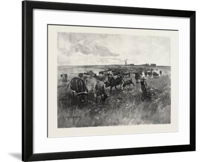 A Mennonite Girl Herding Cattle, Canada, Nineteenth Century--Framed Giclee Print