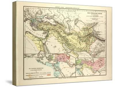 Map of the Persian Empire and the Empire of Alexander the Great--Stretched Canvas Print