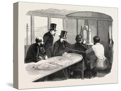 Telegraphy Locomotives. Inside the Car During Operation, 1855.--Stretched Canvas Print
