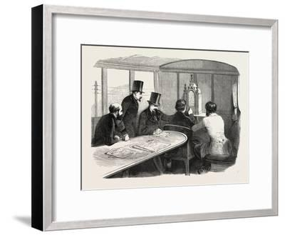 Telegraphy Locomotives. Inside the Car During Operation, 1855.--Framed Giclee Print