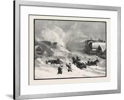 A Blizzard in Winnipeg, Canada, Nineteenth Century--Framed Giclee Print
