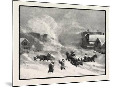 A Blizzard in Winnipeg, Canada, Nineteenth Century--Mounted Giclee Print