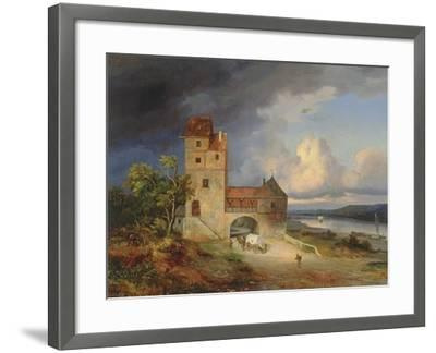 Landscape by the River with the Tower and Gateway, 1844--Framed Giclee Print