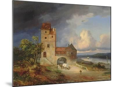 Landscape by the River with the Tower and Gateway, 1844--Mounted Giclee Print