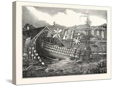 Launch of His Majesty's Ship Waterloo, at Chatham, UK--Stretched Canvas Print