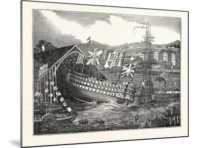 Launch of His Majesty's Ship Waterloo, at Chatham, UK--Mounted Giclee Print