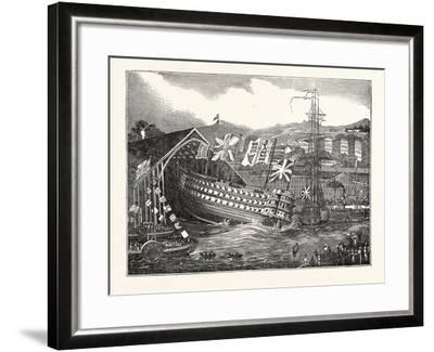 Launch of His Majesty's Ship Waterloo, at Chatham, UK--Framed Giclee Print