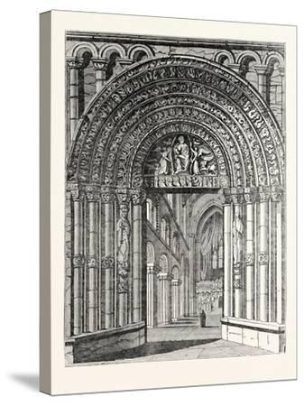 Principal Entrance and Interior of Rochester Cathedral--Stretched Canvas Print