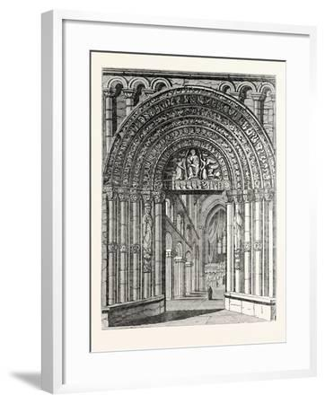 Principal Entrance and Interior of Rochester Cathedral--Framed Giclee Print