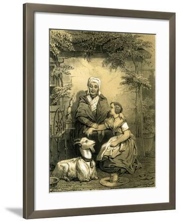Goat Woman Girl Spinning Wheel 19th Century Hat Garden--Framed Giclee Print