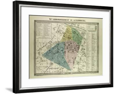 Map Of Paris France 6th Arrondissement.Map Of The 6th Arrondissement Du Luxembourg Paris France Giclee