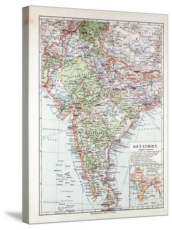 Map of India Pakistan and Tibet 1899--Stretched Canvas Print
