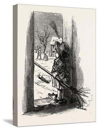 Cleaning the Doorstep, Child, 1882--Stretched Canvas Print