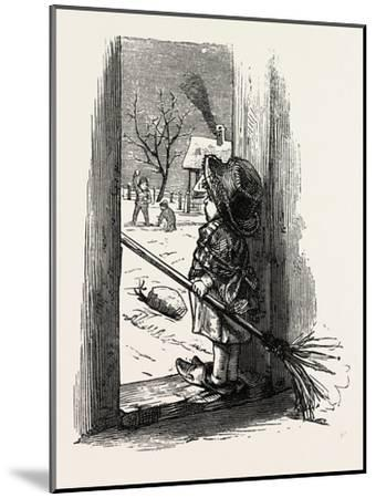 Cleaning the Doorstep, Child, 1882--Mounted Giclee Print