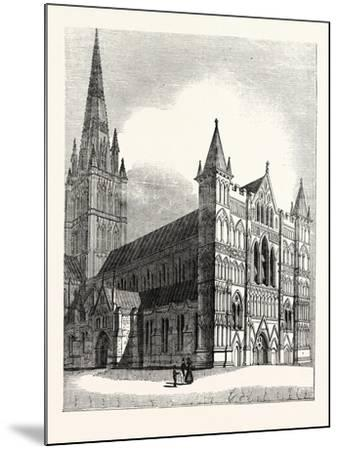 North-West View of Salisbury Cathedral--Mounted Giclee Print