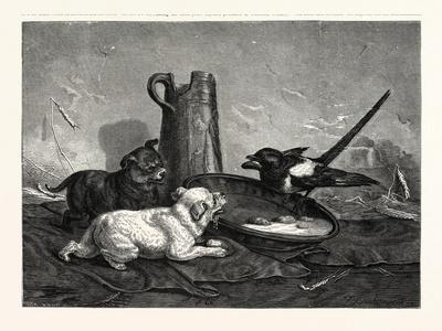 An Unbidden Guest. Dogs and Bird Dinner--Framed Giclee Print
