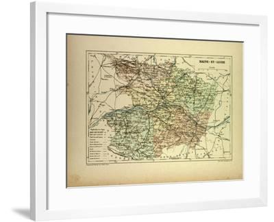 Map of Maine-Et-Loire France--Framed Giclee Print