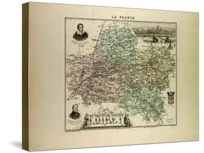 Map of Loiret 1896, France--Stretched Canvas Print