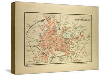 Map of Montpellier, France--Stretched Canvas Print