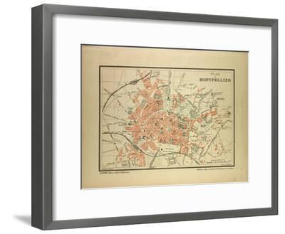 Map of Montpellier, France--Framed Giclee Print