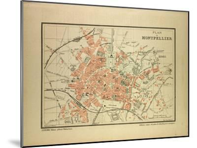 Map of Montpellier, France--Mounted Giclee Print