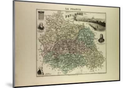 Map of Puy De Dôme 1896, France--Mounted Giclee Print
